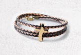 Eternity Cross, Wrap Bracelet, Brass