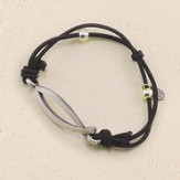 Ichthus Adjustable Stretch Bracelet, Black