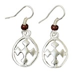 My Shield Beaded Dangle Earring, Brown, Large