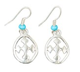 My Shield Beaded Dangle Earring, Turquoise, Large