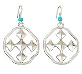 My Shield Beaded Dangle Earring, Turquoise, Small