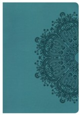 NKJV Large Print Ultrathin Reference Bible, Teal LeatherTouch, Thumb-Indexed - Imperfectly Imprinted Bibles