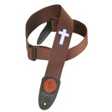 Guitar Strap with Cross, Brown