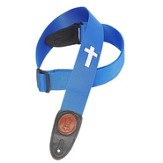 Guitar Strap with Cross, Royal Blue