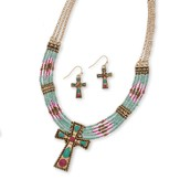 Beaded Cross Necklace Set, Turquoise And Red