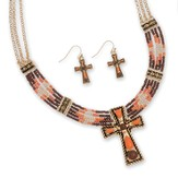 Beaded Cross Necklace Set, Orange And Brown