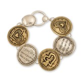 1 Cor. 13:4 Magnetic Heart Bracelet, Gold And Silver
