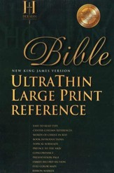 NKJV Ultra Thin Large Print Reference Bible, Genuine leather, Burgundy