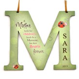 Personalized, Letter M with Ladybug, Mother's Hold   Their Children's Hand