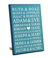 Personalized, Lithograph Plaque, Small, Bible Names,   Blue