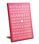 Personalized, Lithograph Plaque, Bible Names, Small  Pink