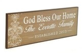 Personalized, Lithograph Plaque, God Bless Our Home Long, Brown