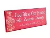 Personalized, Lithograph Plaque, God Bless Our Home,   Long, Pink