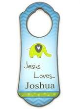 Personalized, Door Hanger with Elephant, Jesus Loves Me Blue