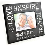 Personalized, Photo Frame, Love Never Fails, Black