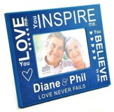 Personalized, Photo Frame, Love Never Fails, Blue