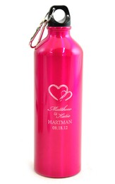 Personalized, Two Hearts Water Bottle, Pink