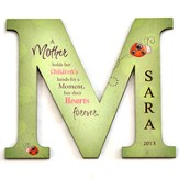 Personalized, Magnet, Letter M, A Mother Hold Her Children's Hand, Green