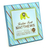 Personalized, Square Plaque With Elephant, Baby Boy, Blue