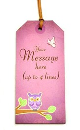 Personalized, Gift Tag with Owl, Personal Message,   Purple