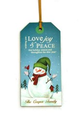 Personalized, Gift Tag with Snowman, Love Joy and Peace