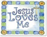 Jesus Loves Me Cross Pin Display, Blue