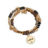 Love, Beaded Wrap Bracelet, Brown and Tritone