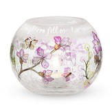 Daughters Fill Our Lives Crackled Glass Candle Holder