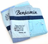 Personalized, Embroidered Scripture Baby Quilt, Blue