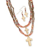 Beaded Double Cross Necklace and Earrings Set, Gold and Coral