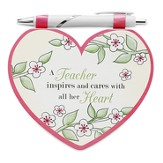 Heart Shaped Notepad and Pen Set, Teacher