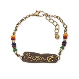 Hope Anchor Bracelet, Gold & Brown