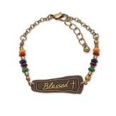 Blessed Cross Bracelet, Gold & Brown