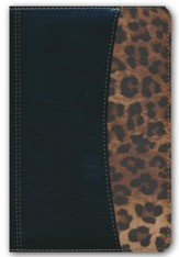 RVR 1960 Biblia Compacta letra Grande con Referencias, negro y leopardo con cierre simil piel, RVR 1960 Large-Print Compact Quick Reference Bible, soft-leather look, black and cheetah with zipper