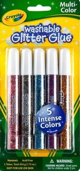 Crayola Washable Glitter Glue, Multi-Color, 5 Pack