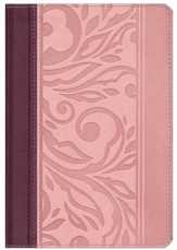 RVR 1960 Biblia Letra Grande Tamaoo Manual con Referencias, borravino y rosado simil piel, RVR 1960 Hand-Size Giant-Print Reference Bible--soft leather-look, blush/wine