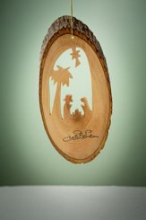 Olive Wood Nativity with Palm Tree on Bark Slice Ornament