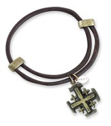 Jerusalem Cross Bracelet, Dark Brown
