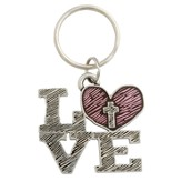 Love, Heart, Cross Keyring