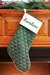 Green Velvet Quilted Christmas Stocking, 11 x 18 100% cotton