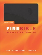 Fire Bible Global Study Edition, soft leather-look,  Black/Black-1984 NIV translation