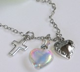 Amazing Grace, Open Cross, Glass Heart, Vintage Heart Necklace