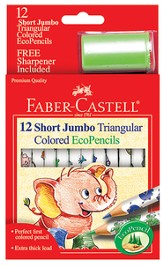 Short Jumbo Triangular Colored EcoPencils, Pack of 12