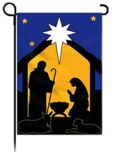 Holy Night Silhouettes Fiber Optic Flag, Small