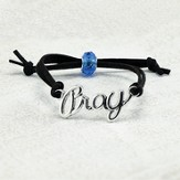 Pray Adjustable Leather Bracelet, Black