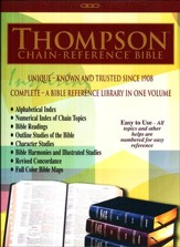 NKJV Thompson Chain  Reference Bible, Genuine Leather Black, Indexed - Imperfectly Imprinted Bibles
