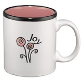 Joy Mug, White and Pink
