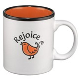 Rejoice Mug, White and Orange