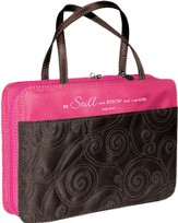 Be Still and Know Bible Cover, Pink and Brown, Medium