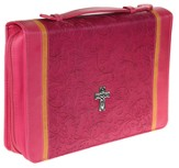 Decorative Cross Bible Cover, Pink, Large